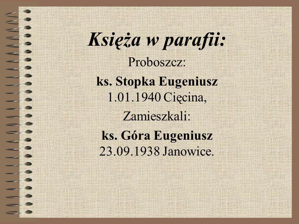 Księża w parafii: Proboszcz: ks.Stopka Eugeniusz 1.01.1940 Cięcina, Zamieszkali: ks.