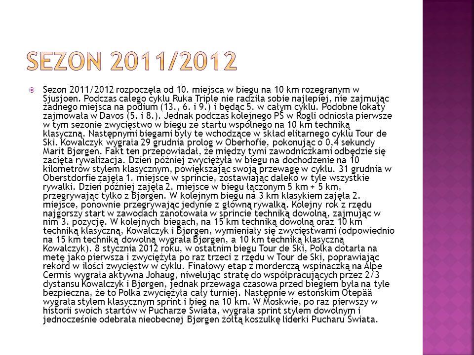 Sezon 2011/2012 rozpoczęła od 10. miejsca w biegu na 10 km rozegranym w Sjusjoen. Podczas całego cyklu Ruka Triple nie radziła sobie najlepiej, nie za