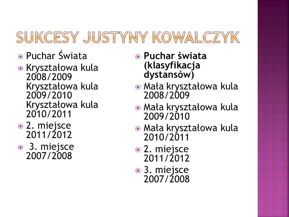 Puchar Świata Kryształowa kula 2008/2009 Kryształowa kula 2009/2010 Kryształowa kula 2010/2011 2. miejsce 2011/2012 3. miejsce 2007/2008 Puchar świata