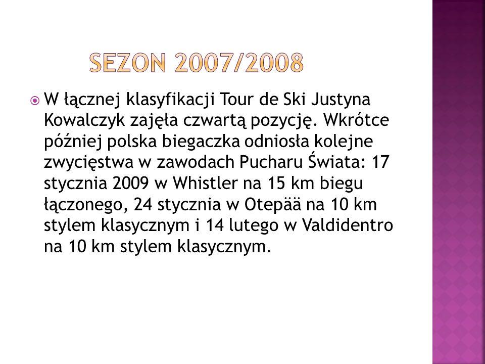 W łącznej klasyfikacji Tour de Ski Justyna Kowalczyk zajęła czwartą pozycję. Wkrótce później polska biegaczka odniosła kolejne zwycięstwa w zawodach P