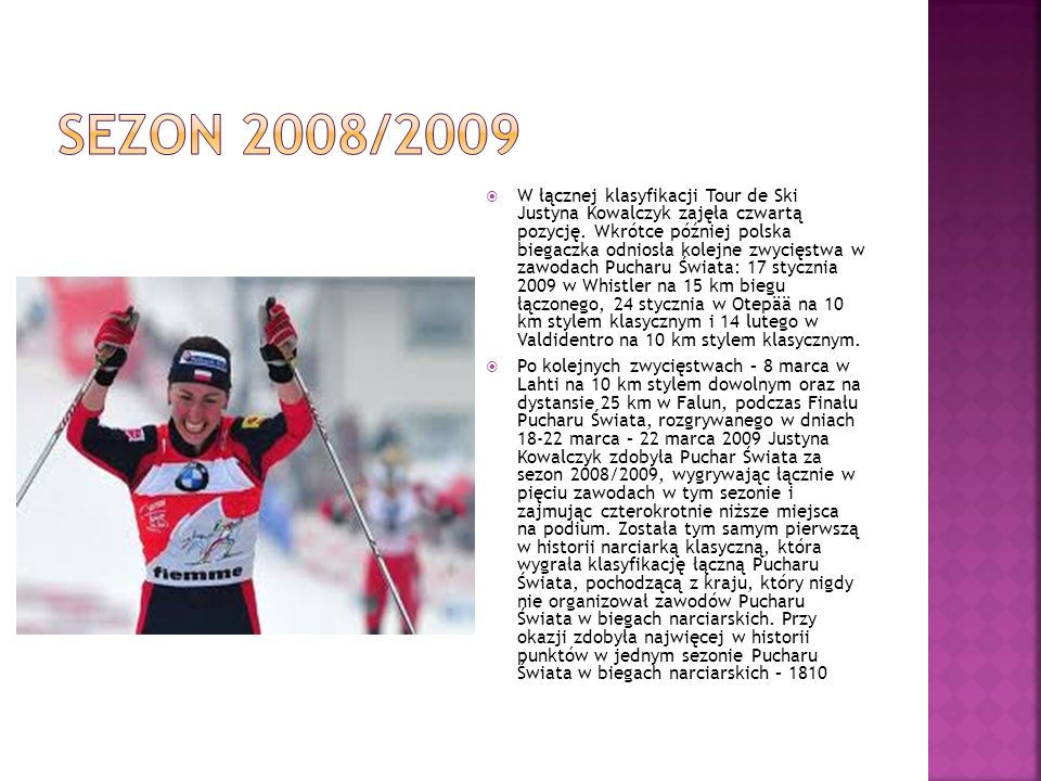 Po kolejnych zwycięstwach – 8 marca w Lahti na 10 km stylem dowolnym oraz na dystansie 25 km w Falun, podczas Finału Pucharu Świata, rozgrywanego w dn
