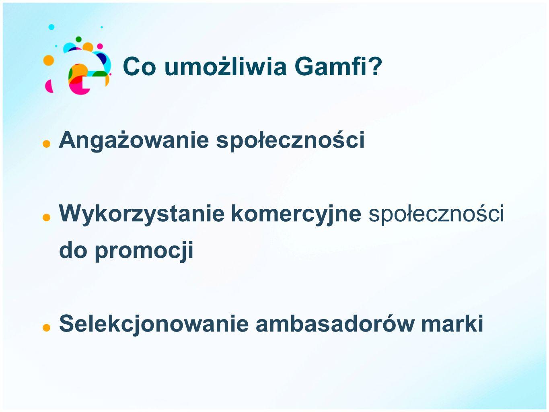 Co umożliwia Gamfi? Angażowanie społeczności Wykorzystanie komercyjne społeczności do promocji Selekcjonowanie ambasadorów marki