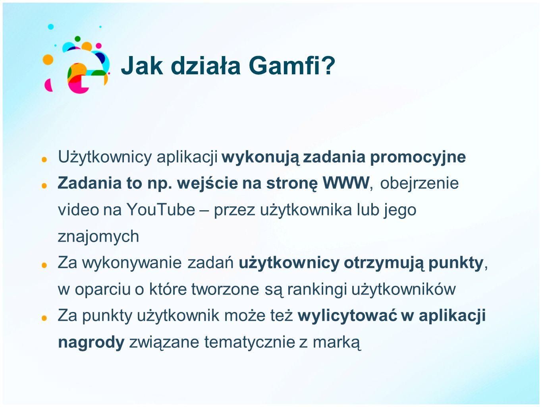 Jak działa Gamfi? Użytkownicy aplikacji wykonują zadania promocyjne Zadania to np. wejście na stronę WWW, obejrzenie video na YouTube – przez użytkown