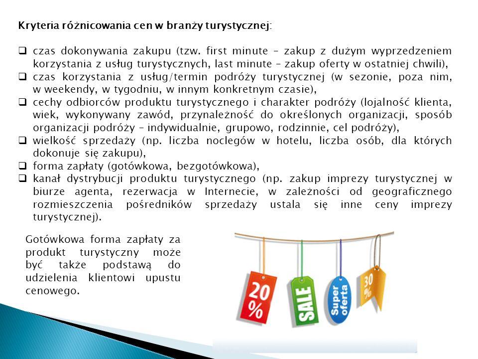 Kryteria różnicowania cen w branży turystycznej: czas dokonywania zakupu (tzw.