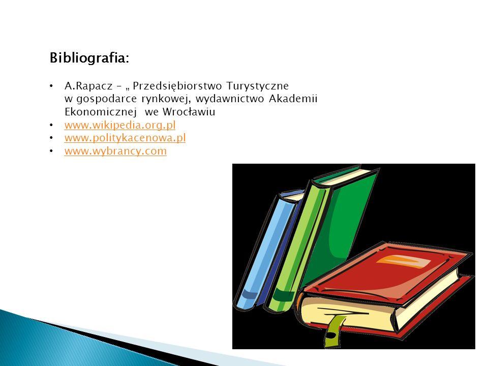 Bibliografia: A.Rapacz – Przedsiębiorstwo Turystyczne w gospodarce rynkowej, wydawnictwo Akademii Ekonomicznej we Wrocławiu www.wikipedia.org.pl www.politykacenowa.pl www.wybrancy.com