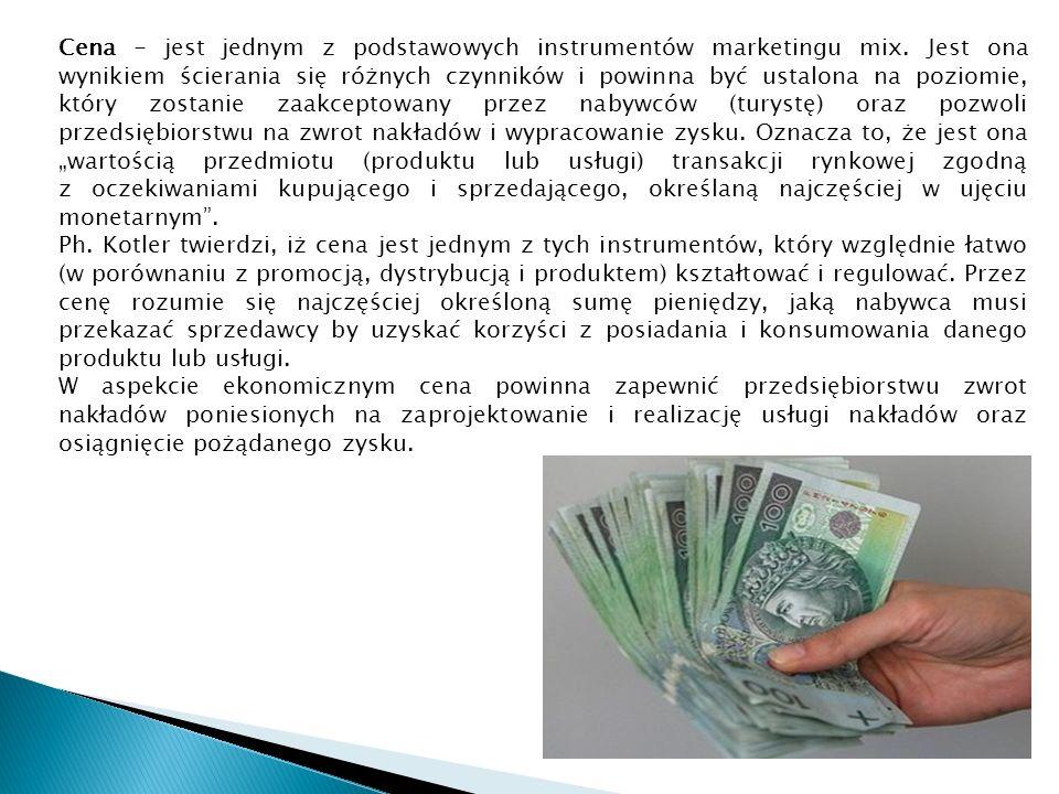 Cena - jest jednym z podstawowych instrumentów marketingu mix.