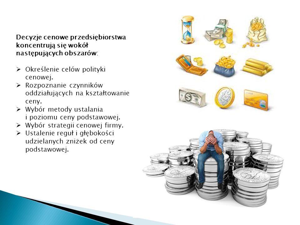 Decyzje cenowe przedsiębiorstwa koncentrują się wokół następujących obszarów: Określenie celów polityki cenowej.