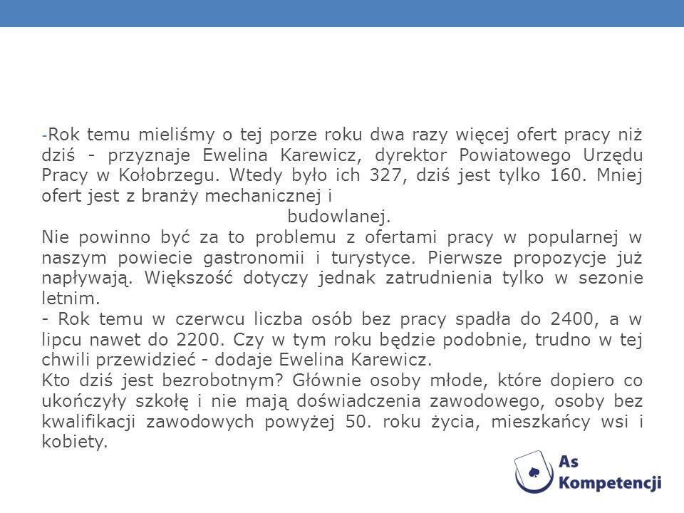 Kołobrzeg> Raport z rynku pracy Ewelina Karewicz, dyrektor urzędu pracy: - Kryzys jest odczuwalny, ale sytuacja w Kołobrzegu jest nadal stosunkowo dob