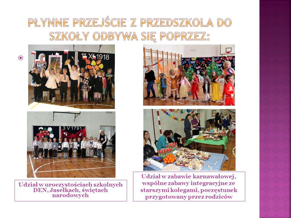 Udział w uroczystościach szkolnych DEN, Jasełkach, świętach narodowych Udział w zabawie karnawałowej, wspólne zabawy integracyjne ze starszymi kolegami, poczęstunek przygotowany przez rodziców