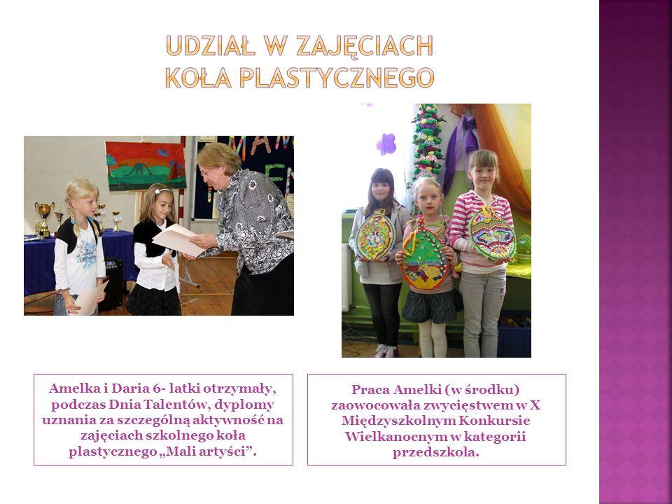 Amelka i Daria 6- latki otrzymały, podczas Dnia Talentów, dyplomy uznania za szczególną aktywność na zajęciach szkolnego koła plastycznego Mali artyści.