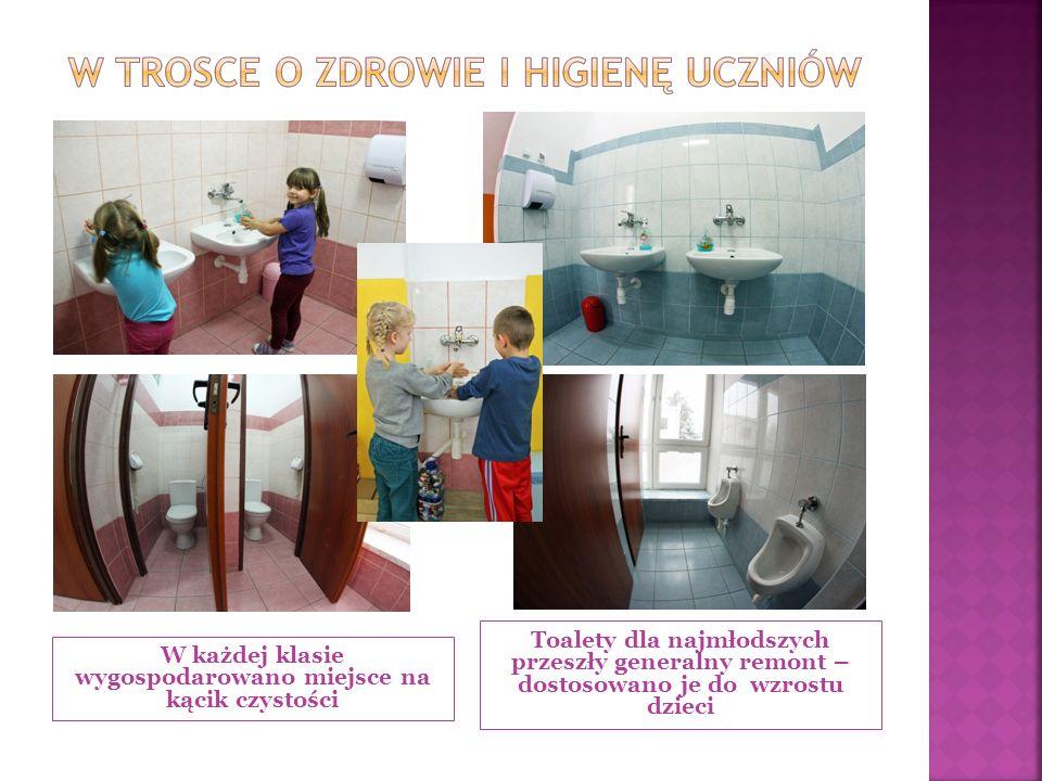 W każdej klasie wygospodarowano miejsce na kącik czystości Toalety dla najmłodszych przeszły generalny remont – dostosowano je do wzrostu dzieci