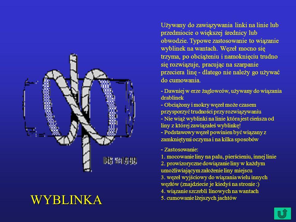 WYBLINKA Używany do zawiązywania linki na linie lub przedmiocie o większej średnicy lub obwodzie.