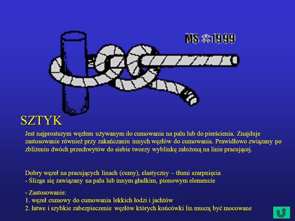 SZTYK Jest najprostszym węzłem używanym do cumowania na palu lub do pierścienia.