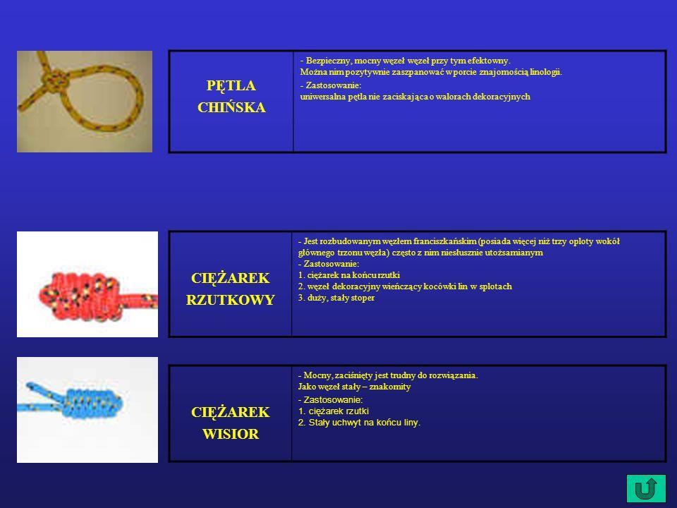 CIĘŻAREK RZUTKOWY - Jest rozbudowanym węzłem franciszkańskim (posiada więcej niż trzy oploty wokół głównego trzonu węzła) często z nim niesłusznie utożsamianym - Zastosowanie: 1.