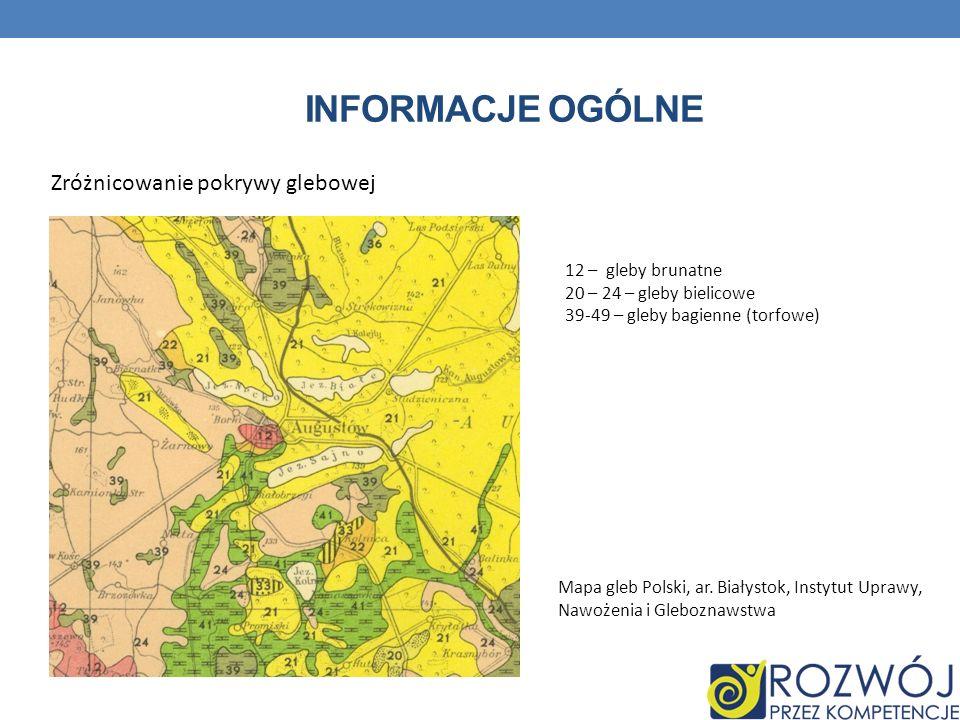 INFORMACJE OGÓLNE Zróżnicowanie pokrywy glebowej 12 – gleby brunatne 20 – 24 – gleby bielicowe 39-49 – gleby bagienne (torfowe) Mapa gleb Polski, ar.