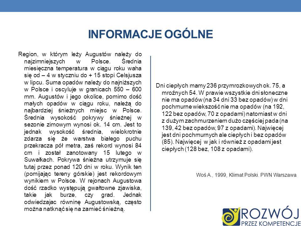 INFORMACJE OGÓLNE Region, w którym leży Augustów należy do najzimniejszych w Polsce. Średnia miesięczna temperatura w ciągu roku waha się od – 4 w sty