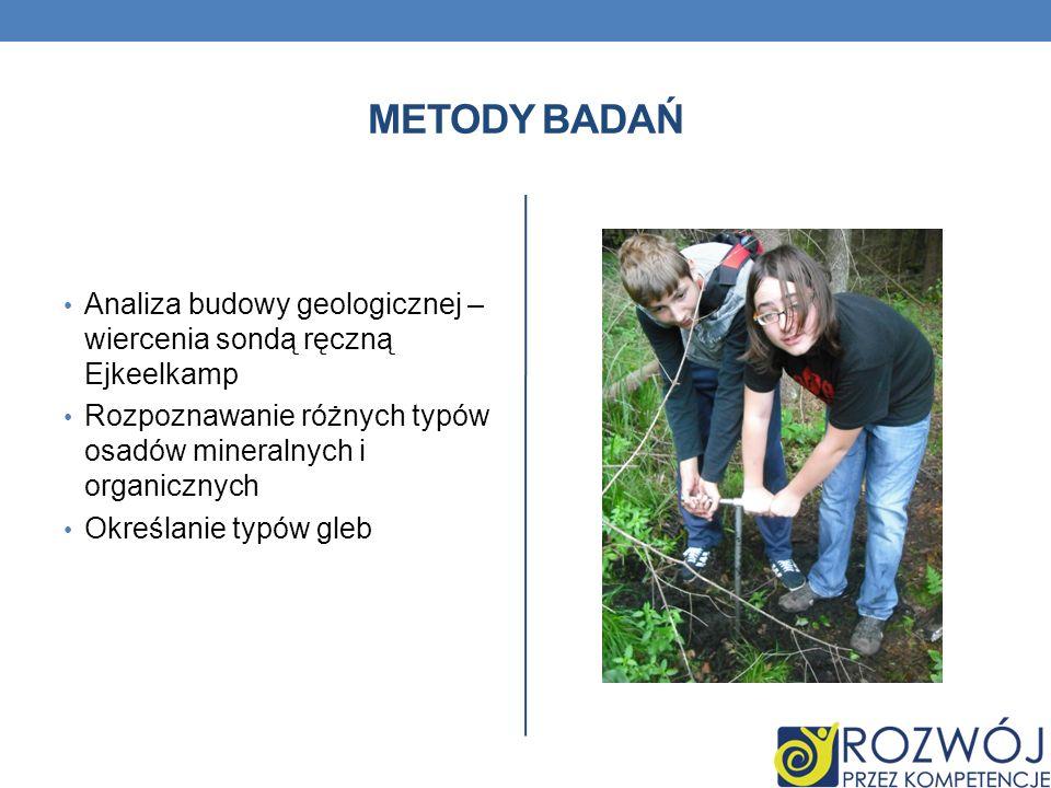 METODY BADAŃ Analiza budowy geologicznej – wiercenia sondą ręczną Ejkeelkamp Rozpoznawanie różnych typów osadów mineralnych i organicznych Określanie