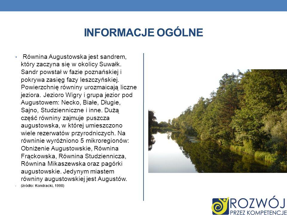 INFORMACJE OGÓLNE Równina Augustowska jest sandrem, który zaczyna się w okolicy Suwałk. Sandr powstał w fazie poznańskiej i pokrywa zasięg fazy leszcz
