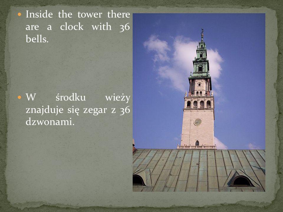 Inside the tower there are a clock with 36 bells. W środku wieży znajduje się zegar z 36 dzwonami.