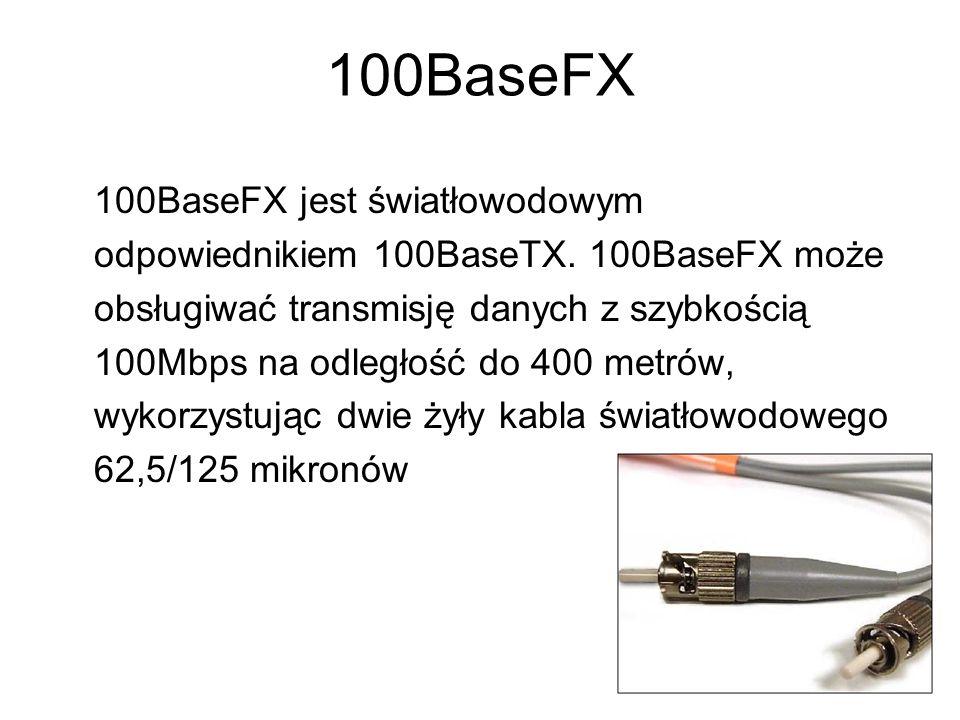 100BaseFX 100BaseFX jest światłowodowym odpowiednikiem 100BaseTX. 100BaseFX może obsługiwać transmisję danych z szybkością 100Mbps na odległość do 400