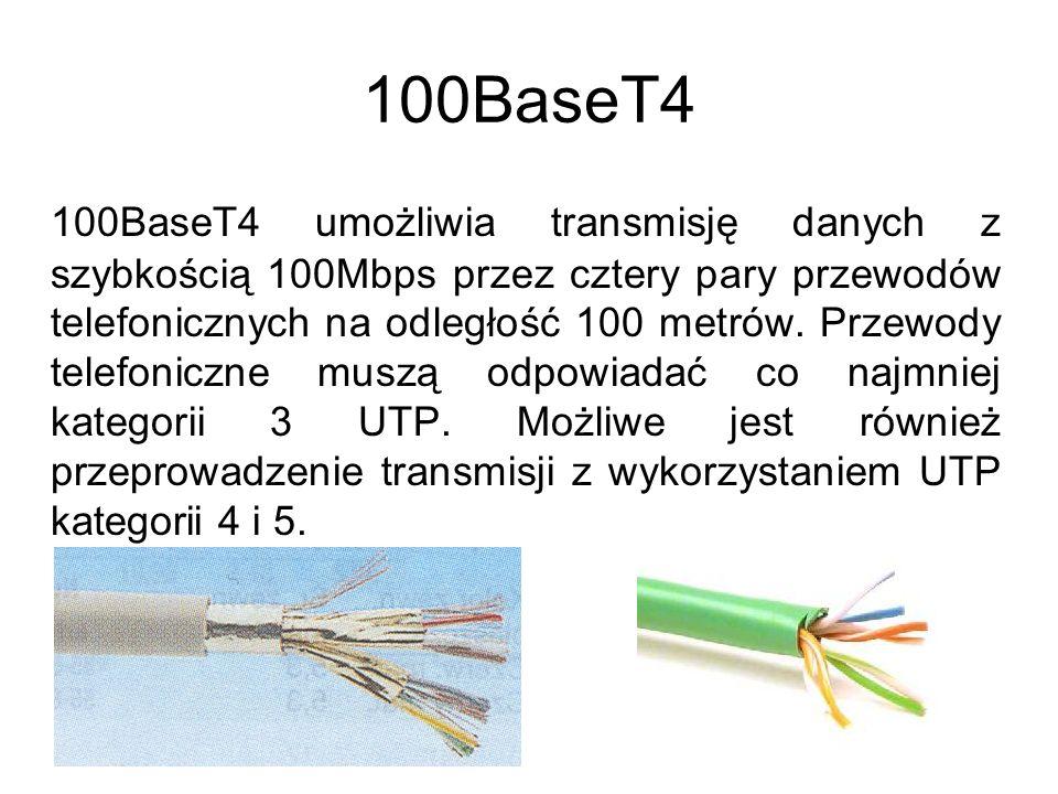 100BaseT4 100BaseT4 umożliwia transmisję danych z szybkością 100Mbps przez cztery pary przewodów telefonicznych na odległość 100 metrów. Przewody tele