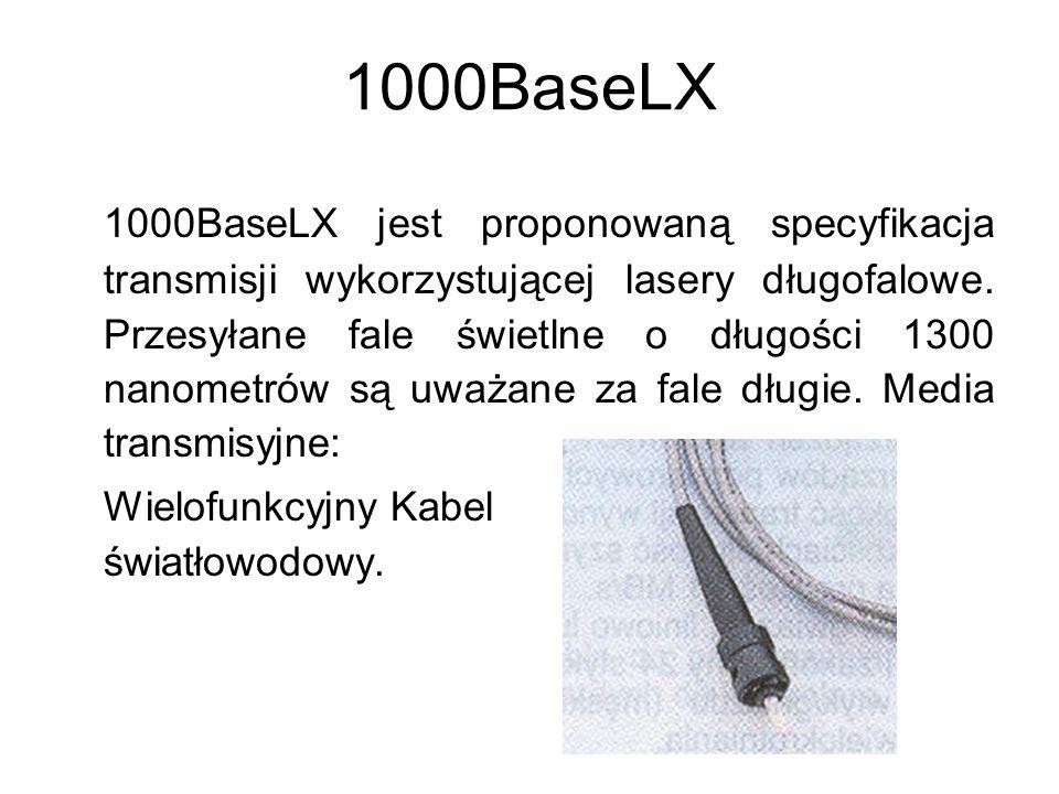 1000BaseLX 1000BaseLX jest proponowaną specyfikacja transmisji wykorzystującej lasery długofalowe. Przesyłane fale świetlne o długości 1300 nanometrów