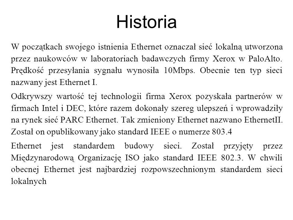 Historia W początkach swojego istnienia Ethernet oznaczał sieć lokalną utworzona przez naukowców w laboratoriach badawczych firmy Xerox w PaloAlto. Pr