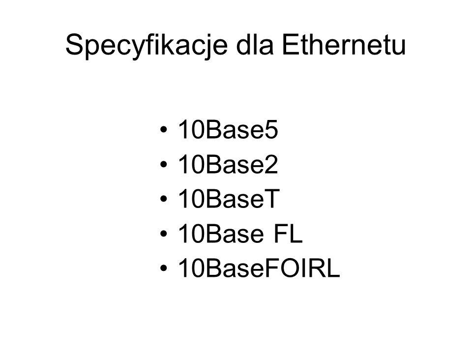 Specyfikacje dla Ethernetu 10Base5 10Base2 10BaseT 10Base FL 10BaseFOIRL
