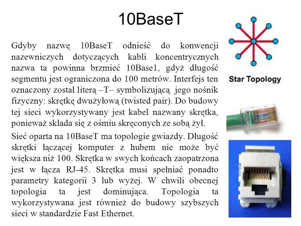 10BaseT Gdyby nazwę 10BaseT odnieść do konwencji nazewniczych dotyczących kabli koncentrycznych nazwa ta powinna brzmieć 10Base1, gdyż długość segmentu jest ograniczona do 100 metrów.