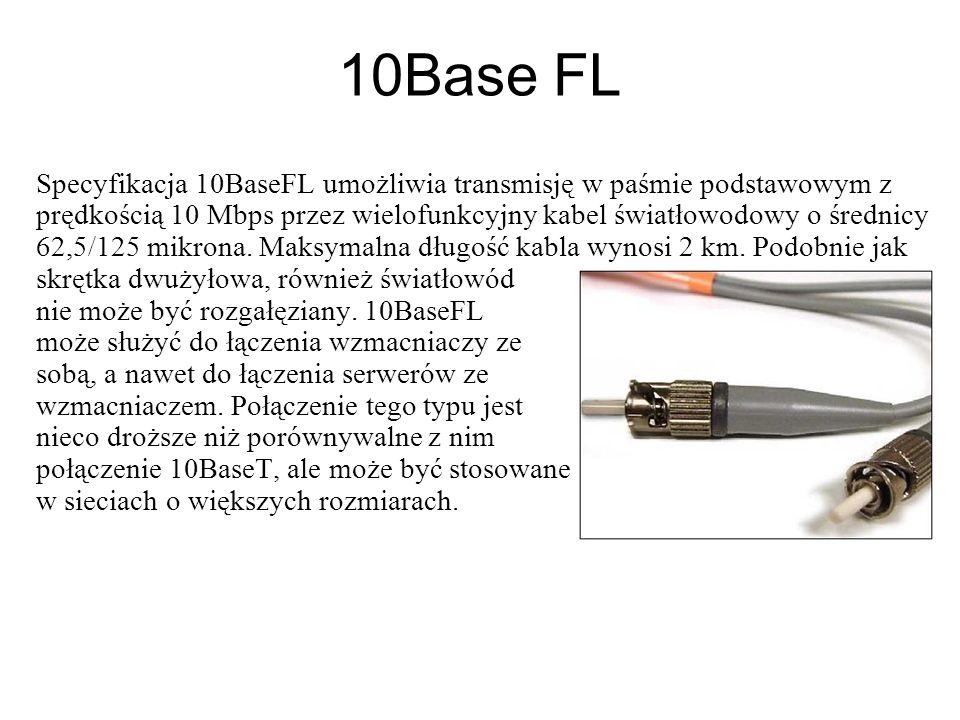 10Base FL Specyfikacja 10BaseFL umożliwia transmisję w paśmie podstawowym z prędkością 10 Mbps przez wielofunkcyjny kabel światłowodowy o średnicy 62,