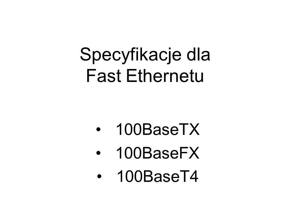 Specyfikacje dla Fast Ethernetu 100BaseTX 100BaseFX 100BaseT4