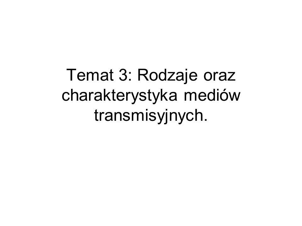 Temat 3: Rodzaje oraz charakterystyka mediów transmisyjnych.