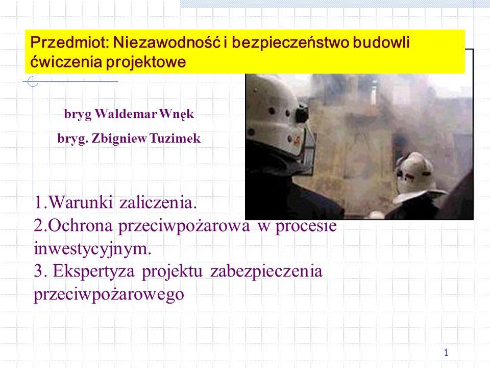 1 1.Warunki zaliczenia. 2.Ochrona przeciwpożarowa w procesie inwestycyjnym. 3. Ekspertyza projektu zabezpieczenia przeciwpożarowego bryg Waldemar Wnęk