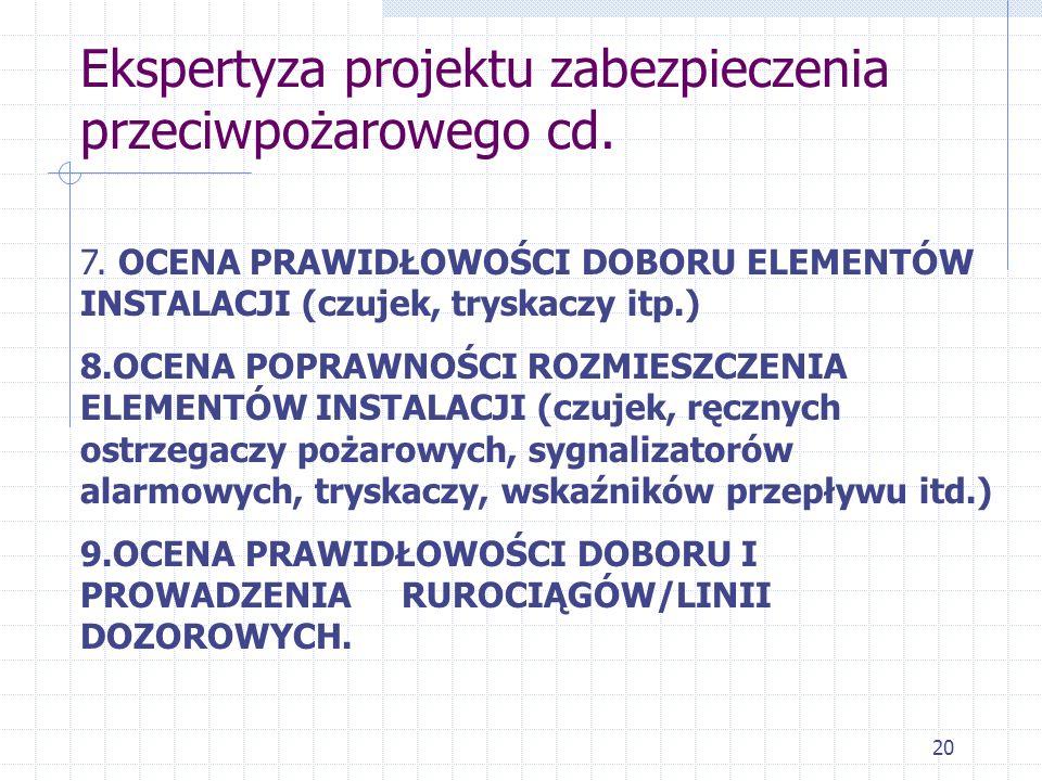 20 Ekspertyza projektu zabezpieczenia przeciwpożarowego cd. 7. OCENA PRAWIDŁOWOŚCI DOBORU ELEMENTÓW INSTALACJI (czujek, tryskaczy itp.) 8.OCENA POPRAW