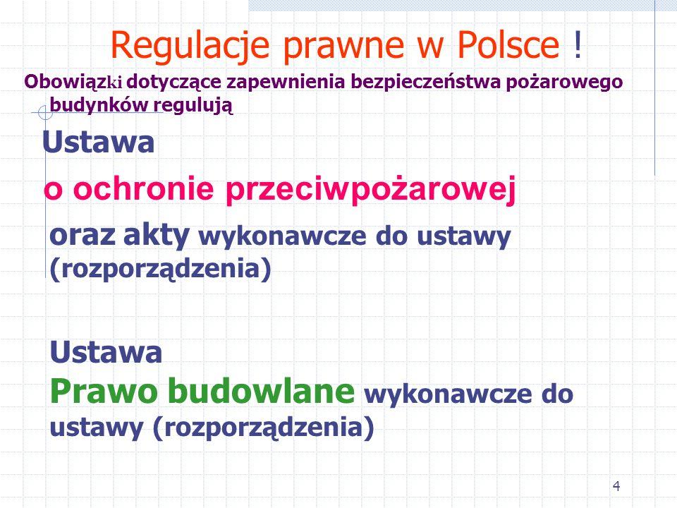 4 Regulacje prawne w Polsce ! Obowiąz ki dotyczące zapewnienia bezpieczeństwa pożarowego budynków regulują Ustawa o ochronie przeciwpożarowej oraz akt