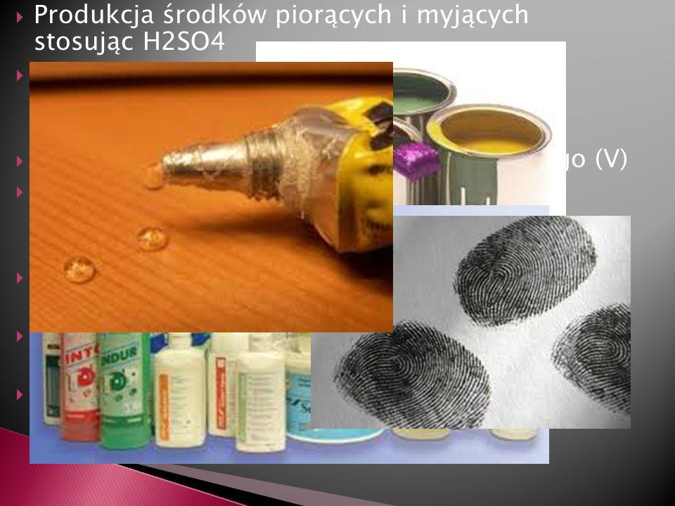 Produkcja środków piorących i myjących stosując H2SO4 Produkcja mydeł, kosmetyków do włosów i paznokci oraz środków piorących dzięki niezbędnej substa