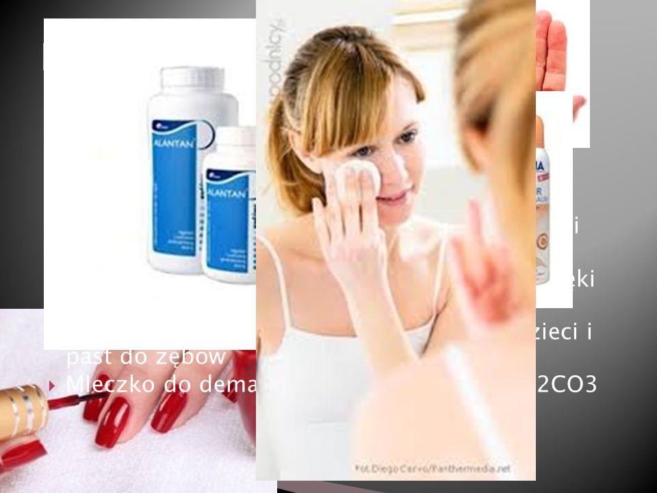 Na2CO3 używany do produkcji mydeł i środków piorących Niewielkie stężenia propanu używane są jako gaz spieniający aerozolach czy piankach do golenia Do produkcji najtrwalszych perfum stosuje się stężony roztwór etanolu, substancje zapachowe- składniki perfum produkowane z HNO3 Glicerol używany jest w kremach i balsamach nawilżających wiążąc wodę