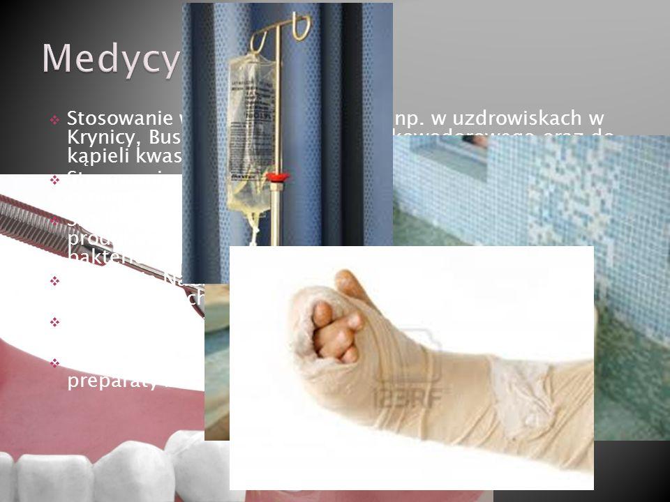 Stosowanie w wodach leczniczych np. w uzdrowiskach w Krynicy, Busku-Zdroju, kwasu siarkowodorowego oraz do kąpieli kwasowęglowych H2CO3 leczących chor