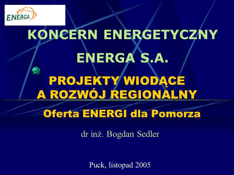 PROJEKTY WIODĄCE A ROZWÓJ REGIONALNY Oferta ENERGI dla Pomorza dr inż.