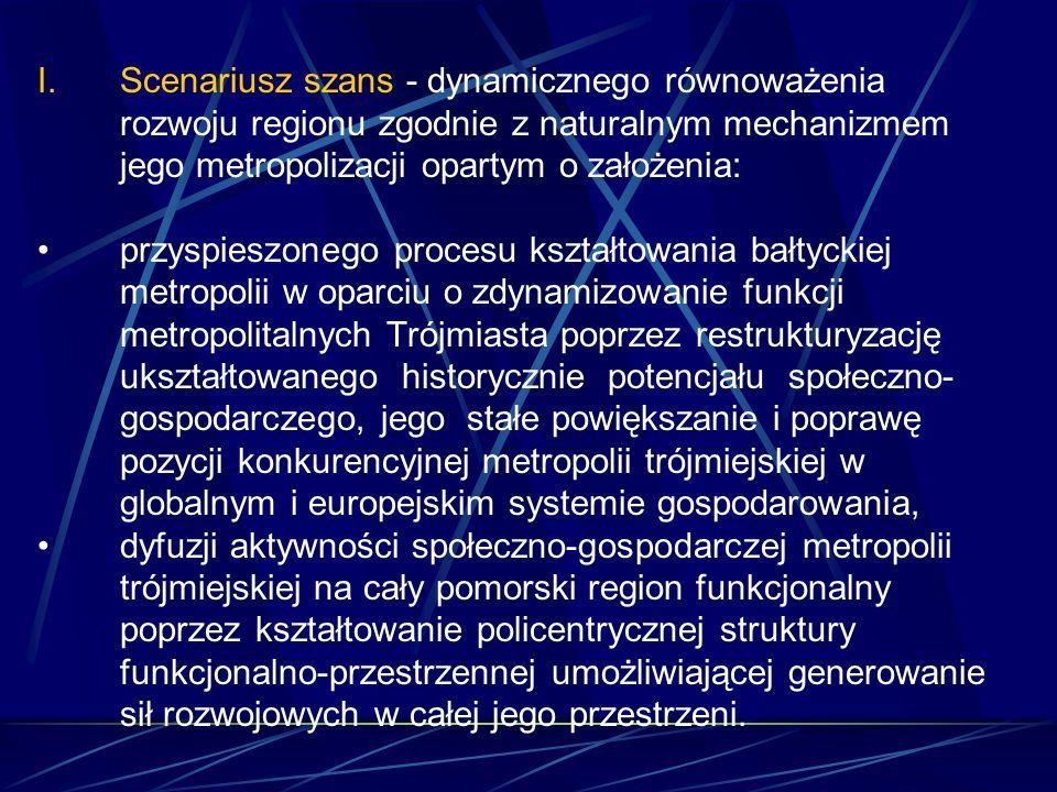 I.Scenariusz szans - dynamicznego równoważenia rozwoju regionu zgodnie z naturalnym mechanizmem jego metropolizacji opartym o założenia: przyspieszonego procesu kształtowania bałtyckiej metropolii w oparciu o zdynamizowanie funkcji metropolitalnych Trójmiasta poprzez restrukturyzację ukształtowanego historycznie potencjału społeczno- gospodarczego, jego stałe powiększanie i poprawę pozycji konkurencyjnej metropolii trójmiejskiej w globalnym i europejskim systemie gospodarowania, dyfuzji aktywności społeczno-gospodarczej metropolii trójmiejskiej na cały pomorski region funkcjonalny poprzez kształtowanie policentrycznej struktury funkcjonalno-przestrzennej umożliwiającej generowanie sił rozwojowych w całej jego przestrzeni.