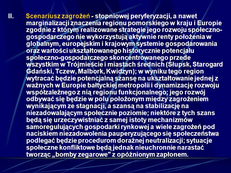 II. Scenariusz zagrożeń - stopniowej peryferyzacji, a nawet marginalizacji znaczenia regionu pomorskiego w kraju i Europie zgodnie z którym realizowan