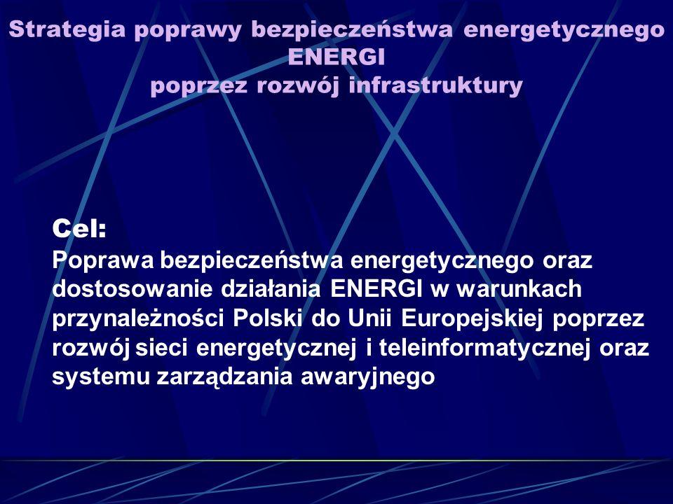 Strategia poprawy bezpieczeństwa energetycznego ENERGI poprzez rozwój infrastruktury Cel: Poprawa bezpieczeństwa energetycznego oraz dostosowanie działania ENERGI w warunkach przynależności Polski do Unii Europejskiej poprzez rozwój sieci energetycznej i teleinformatycznej oraz systemu zarządzania awaryjnego