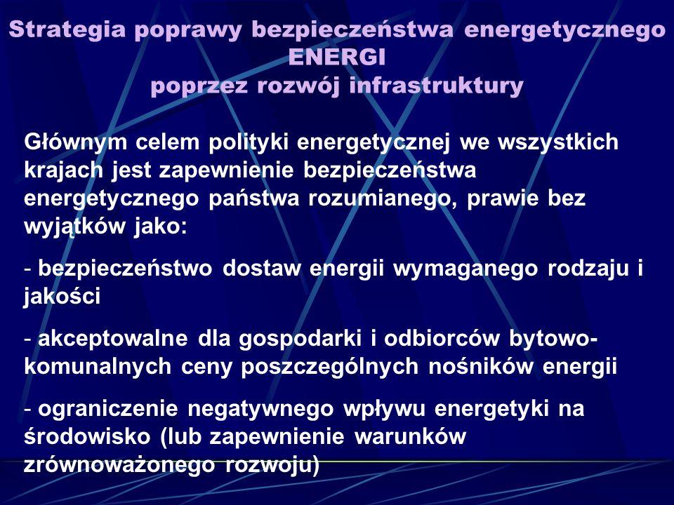 Strategia poprawy bezpieczeństwa energetycznego ENERGI poprzez rozwój infrastruktury Głównym celem polityki energetycznej we wszystkich krajach jest zapewnienie bezpieczeństwa energetycznego państwa rozumianego, prawie bez wyjątków jako: - bezpieczeństwo dostaw energii wymaganego rodzaju i jakości - akceptowalne dla gospodarki i odbiorców bytowo- komunalnych ceny poszczególnych nośników energii - ograniczenie negatywnego wpływu energetyki na środowisko (lub zapewnienie warunków zrównoważonego rozwoju)