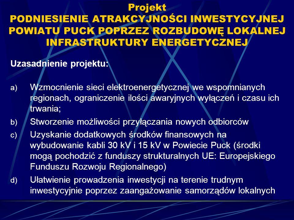 Projekt PODNIESIENIE ATRAKCYJNOŚCI INWESTYCYJNEJ POWIATU PUCK POPRZEZ ROZBUDOWĘ LOKALNEJ INFRASTRUKTURY ENERGETYCZNEJ Uzasadnienie projektu: a) Wzmocnienie sieci elektroenergetycznej we wspomnianych regionach, ograniczenie ilości awaryjnych wyłączeń i czasu ich trwania; b) Stworzenie możliwości przyłączania nowych odbiorców c) Uzyskanie dodatkowych środków finansowych na wybudowanie kabli 30 kV i 15 kV w Powiecie Puck (środki mogą pochodzić z funduszy strukturalnych UE: Europejskiego Funduszu Rozwoju Regionalnego) d) Ułatwienie prowadzenia inwestycji na terenie trudnym inwestycyjnie poprzez zaangażowanie samorządów lokalnych