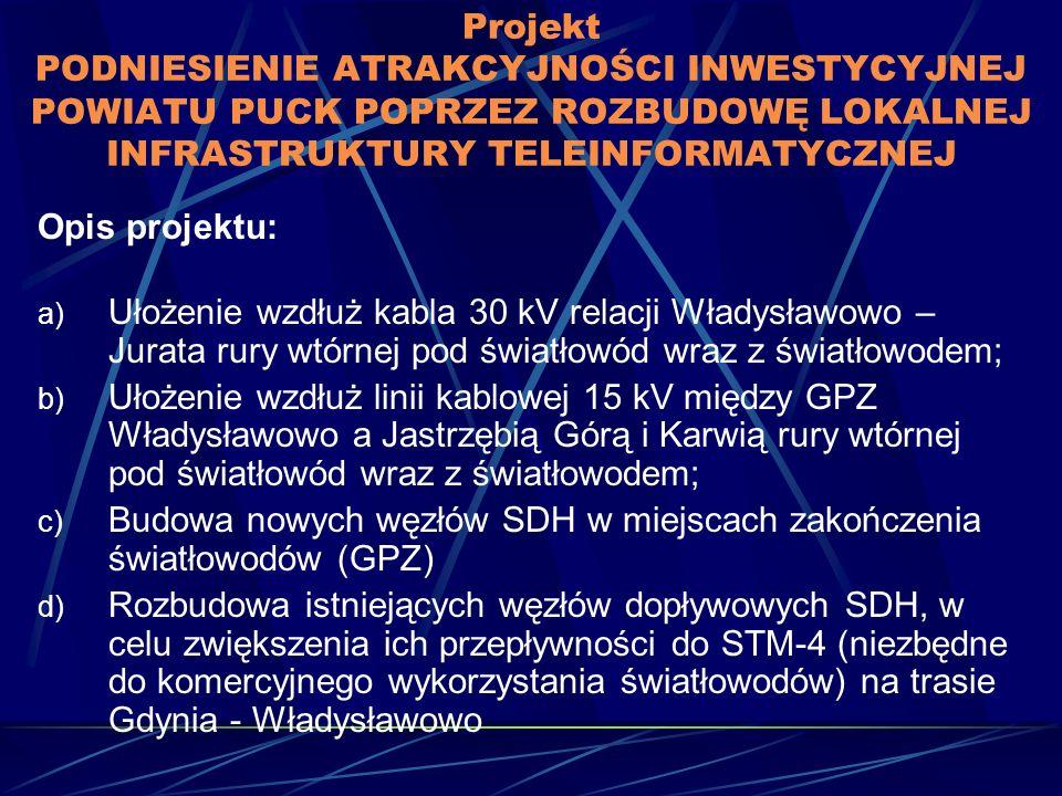 Projekt PODNIESIENIE ATRAKCYJNOŚCI INWESTYCYJNEJ POWIATU PUCK POPRZEZ ROZBUDOWĘ LOKALNEJ INFRASTRUKTURY TELEINFORMATYCZNEJ Opis projektu: a) Ułożenie wzdłuż kabla 30 kV relacji Władysławowo – Jurata rury wtórnej pod światłowód wraz z światłowodem; b) Ułożenie wzdłuż linii kablowej 15 kV między GPZ Władysławowo a Jastrzębią Górą i Karwią rury wtórnej pod światłowód wraz z światłowodem; c) Budowa nowych węzłów SDH w miejscach zakończenia światłowodów (GPZ) d) Rozbudowa istniejących węzłów dopływowych SDH, w celu zwiększenia ich przepływności do STM-4 (niezbędne do komercyjnego wykorzystania światłowodów) na trasie Gdynia - Władysławowo