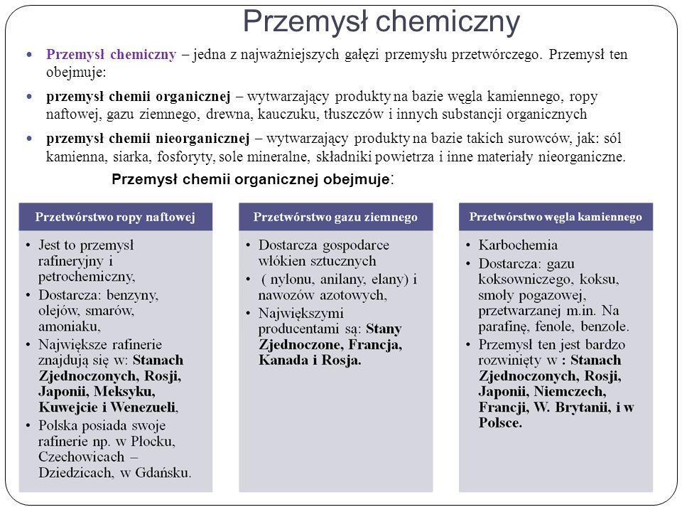 Przemysł chemiczny Przemysł chemiczny – jedna z najważniejszych gałęzi przemysłu przetwórczego.