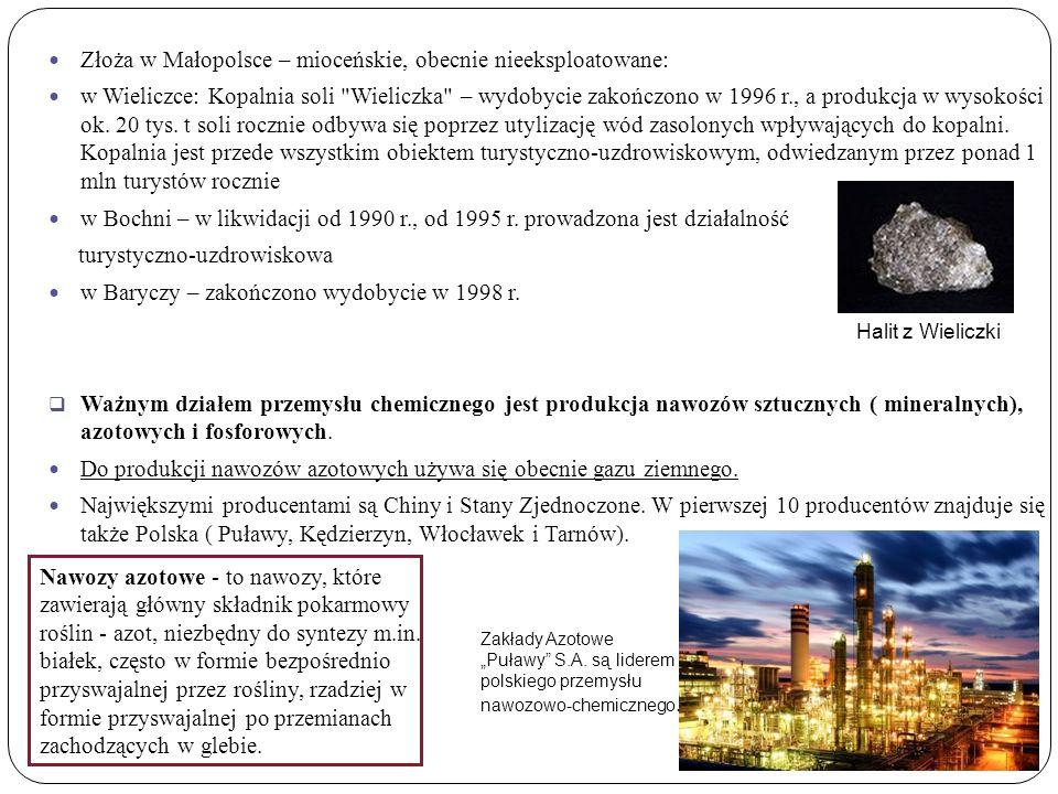 Złoża w Małopolsce – mioceńskie, obecnie nieeksploatowane: w Wieliczce: Kopalnia soli Wieliczka – wydobycie zakończono w 1996 r., a produkcja w wysokości ok.