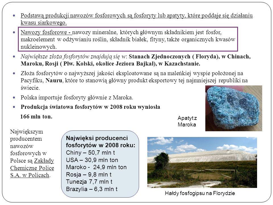 Podstawą produkcji nawozów fosforowych są fosforyty lub apatyty, które poddaje się działaniu kwasu siarkowego.