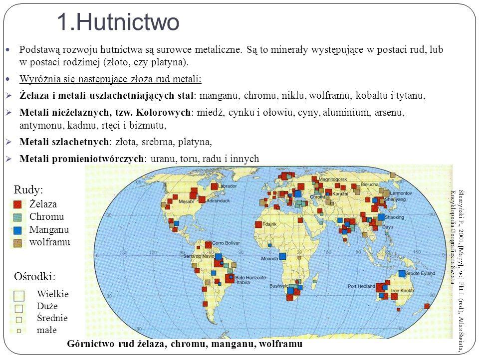1.Hutnictwo Podstawą rozwoju hutnictwa są surowce metaliczne.