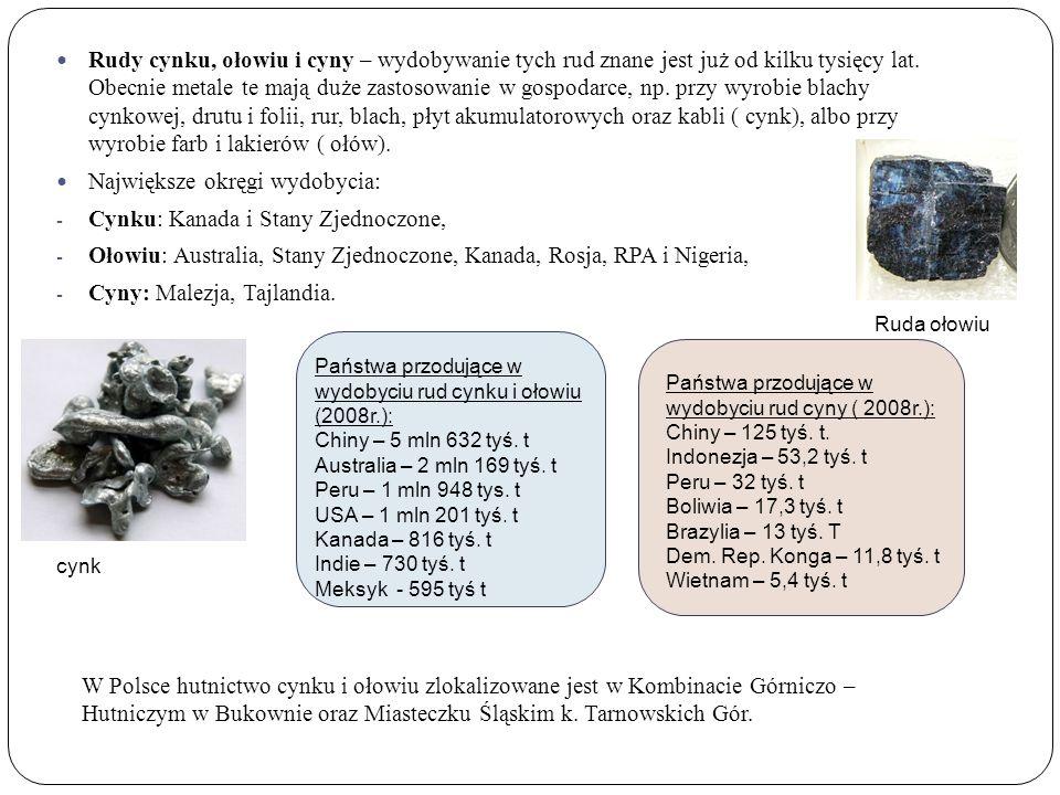 Rudy cynku, ołowiu i cyny – wydobywanie tych rud znane jest już od kilku tysięcy lat.
